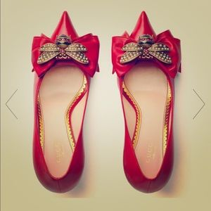 Red leather Gucci kitten heels